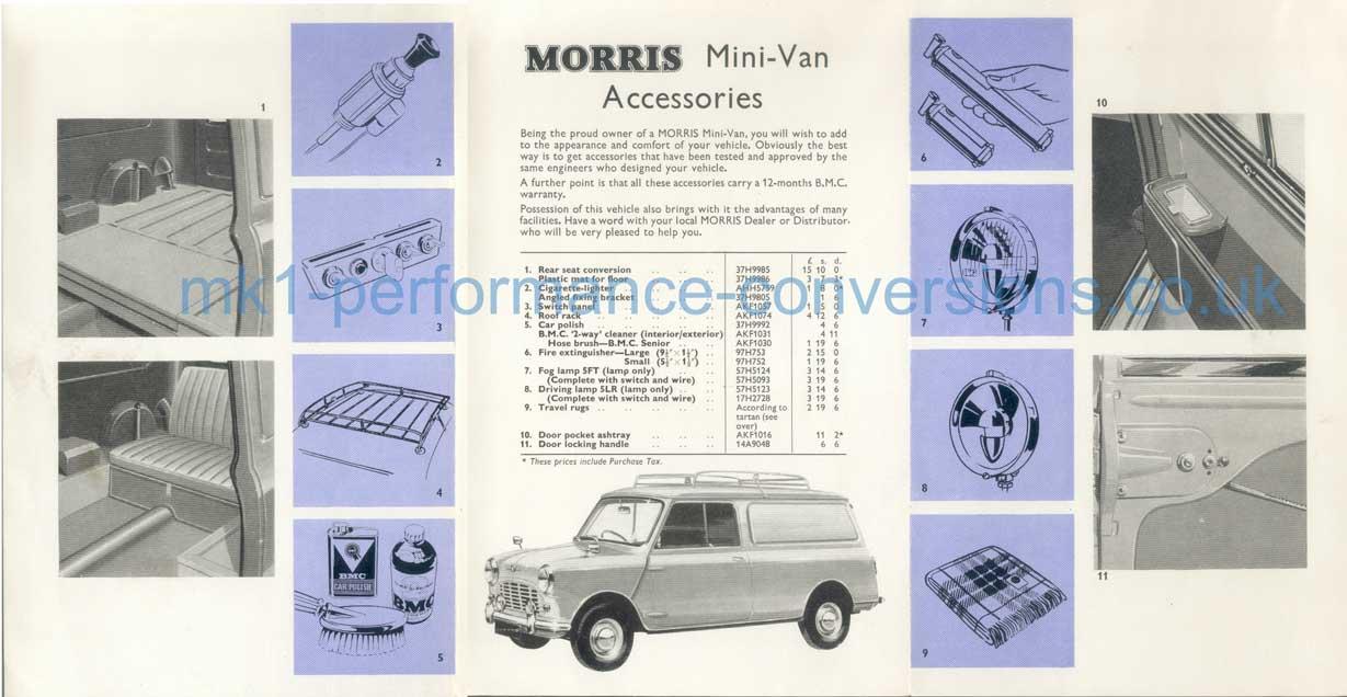 The BMC Morris Mini Van Accessories